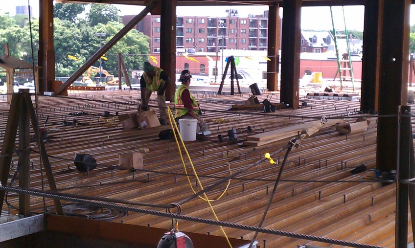 Workers prepare the reinforcement for the concrete deck to be poured later this week.
